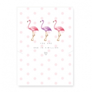 "Wunschkarte für Schmuck ""You are one in a million"" mit Flamingo White-pink"