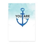 "Wunschkarte für Schmuck ""You are my anchor"" White-blue"