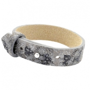 Cuoio Armband 15mm Leder für 20mm Cabochon Rock ridge grey Panther