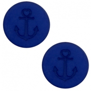 12 mm flach Polaris Elements Cabochon Anker Cobalt blue
