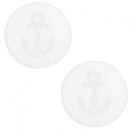 12 mm flach Polaris Elements Cabochon Anker White
