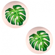Cabochons Basic 20mm Tropical palm leaf-creamy peach