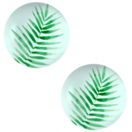 Cabochons Basic 12mm Fern leaf-light turquoise blue