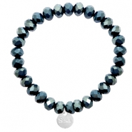 Facetten Glas Armband Sisa 8x6mm ( Anhänger RVS) Dark greige montana blue-top shine coating