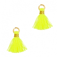 Quaste Perlen 1cm Gold-Neon yellow
