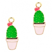 Anhänger Metall Basic quality cactus Gold-pink green