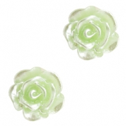 Perlen Rosen 6mm Celery ice green-silber coating