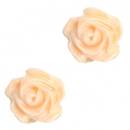 Perlen Rosen 6mm Weiss-apricot blush orange