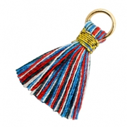 Quaste Perlen 1.8cm Gold-Multi colour red blue