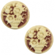 Cabochons Basic Camee 20mm Blumenstrauss Brown-antique gold