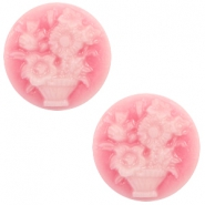 Cabochons Basic Camee 20mm Blumenstrauss Pink-white
