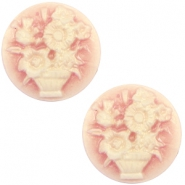 Cabochons Basic Camee 20mm Blumenstrauss Vintage rose-antique gold