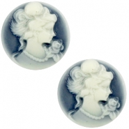 Cabochons Basic Camee 20mm Dark blue-off white