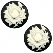 Cabochons Basic Camee 12mm Rose Black-white