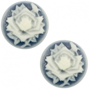 Cabochons Basic Camee 20mm Rose Dark blue-off white