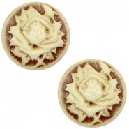 Cabochons Basic Camee 12mm Rose Brown-antique gold