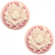 Cabochons Basic Camee 20mm Rose Vintage pink-off white