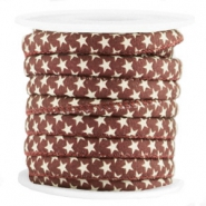 Trendy Kordel 6x4mm gesteppt Stern Aubergine red-brown