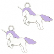 Anhänger Metall Basic quality Unicorn Silver-lavender purple
