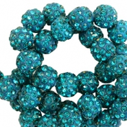 Perlen Strass 10 mm Petrol green