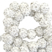 Perlen Strass 10 mm Silver white