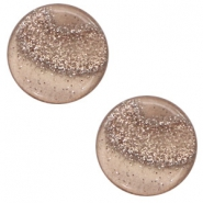 12 mm flach Polaris Elements Cabochon Stardust Taupe brown