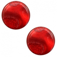 12 mm flach Polaris Elements Cabochon Stardust Warm red