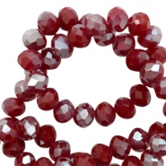 Facetten Top Glas Perlen 4x3mm Rondellen Rumba red silver-pearl shine coating