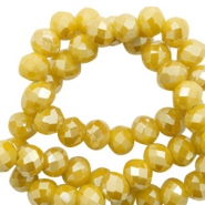 Facetten Top Glas Perlen 4x3mm Rondellen Mustard yellow-pearl shine coating