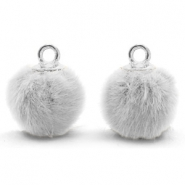 Anhänger Pompom mit Öse faux fur 12mm Light grey-silver
