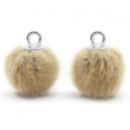 Anhänger Pompom mit Öse faux fur 12mm Taupe brown-silver