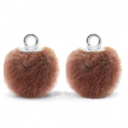 Anhänger Pompom mit Öse faux fur 12mm Red brown-silver