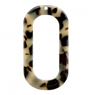 Anhänger Resin lang oval 56x30mm Creme-black
