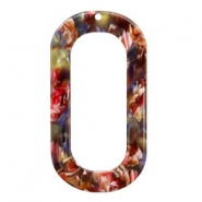 Anhänger Resin lang oval 56x30mm Mixed red-yellow