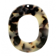Anhänger Resin oval 48x40mm Creme-black