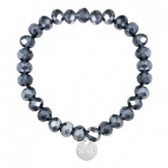 Facetten Glas Armband Sisa 8x6mm (Anhänger RVS) Dark blue-pearl shine coating