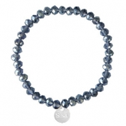 Facetten Glas Armband Sisa 6x4mm (Anhänger RVS) Dark blue-pearl shine coating