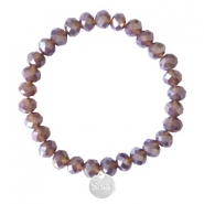 Facetten Glas Armband Sisa 8x6mm (Anhänger RVS) Dark grape purple-pearl shine coating