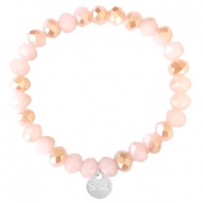 Facetten Glas Armband Sisa 8x6mm (Anhänger RVS) Ginger pink-pearl shine coating