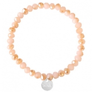 Facetten Glas Armband Sisa 6x4mm (Anhänger RVS) Ginger pink-pearl shine coating