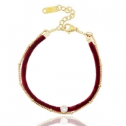 Armband Velvet mit Jasseron Port red-gold