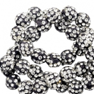 Perlen Strass 6 mm Black-silver