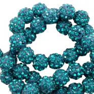Perlen Strass 10 mm Teal blue