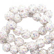 Perlen Strass 10 mm White-AB