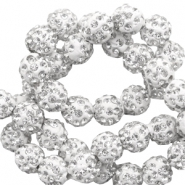 Perlen Strass 10 mm White-silver
