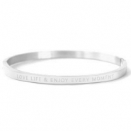 "Stainless Steel - Rostfreiem Stahl Armbänder ""LOVE LIFE AND ENJOY EVERY MOMENT"" Silver"