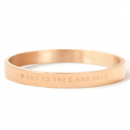 "Stainless Steel - Rostfreiem Stahl Armbänder ""I LOVE YOU TO THE MOON AND BACK"" Rosegold"