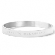 "Stainless Steel - Rostfreiem Stahl Armbänder ""I LOVE YOU TO THE MOON AND BACK"" Silver"