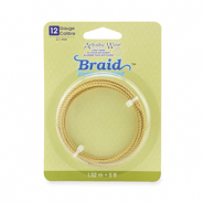 12 Gauge Artistic Wire Braid Round Tarnish Resistant Brass