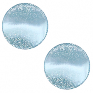 12 mm flach Polaris Elements Cabochon Stardust Sky blue